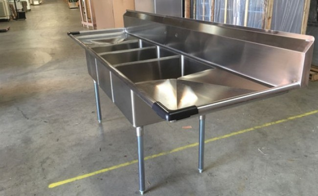120 in Stainless Steel 3 Compartment  sink NSF C3T242412-24LR