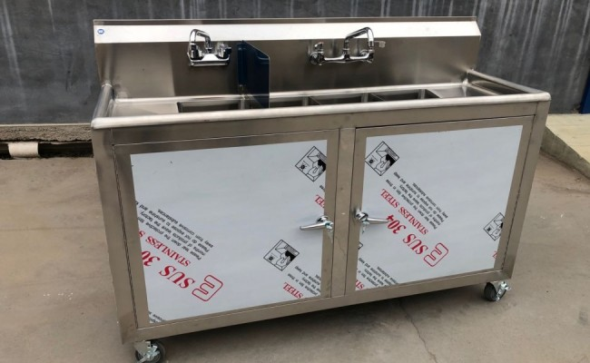 60 ins Portable Food Truck Wash Station 4 compartment sink