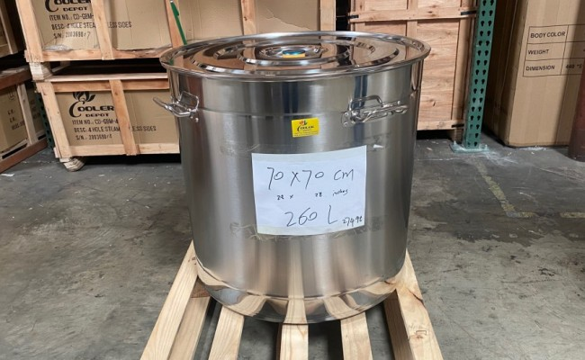 Polished Stainless Steel 260l/274 qt Stock Pot D28H28