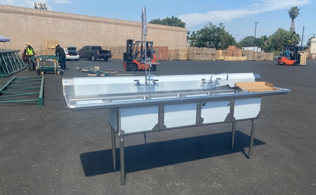 108 ins Commercial 4 Compartment sink NSF C4T181812-18LR