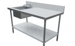 NSF 30x 60 Stainless Steel Table with Sink TSK3060