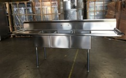 102 in Stainless Steel Three Compartment sink NSF