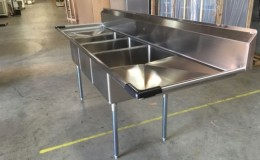 120 in Stainless Steel Three Compartment  sink NSF