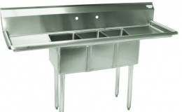 54 ins  Stainless Steel Three Compartment Sink NSF