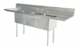 75 ins Stainless Steel Three Compartment Sink NSF
