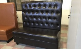 Button style Black Plain Single Back Fully Upholstered Booth BO2