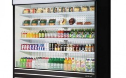 Black Air Curtain Vertical Display Case Open Refrigerated Mercha