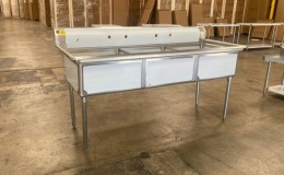 NSF 77 ins Stainless Steel Three Compartment Sink C3T242412