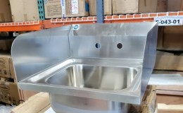 Clearance 15 ins hand sink  two splashes NSF  081223
