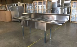 90 ins  Stainless Steel 3 Compartment Sink  NSF C3T181812-18LR